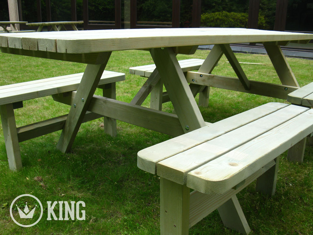 <BIG><B>KING ® Table de pique-nique confort 2.40m / 4 cm d'épaisseur (6 TABLES)</B></BIG>