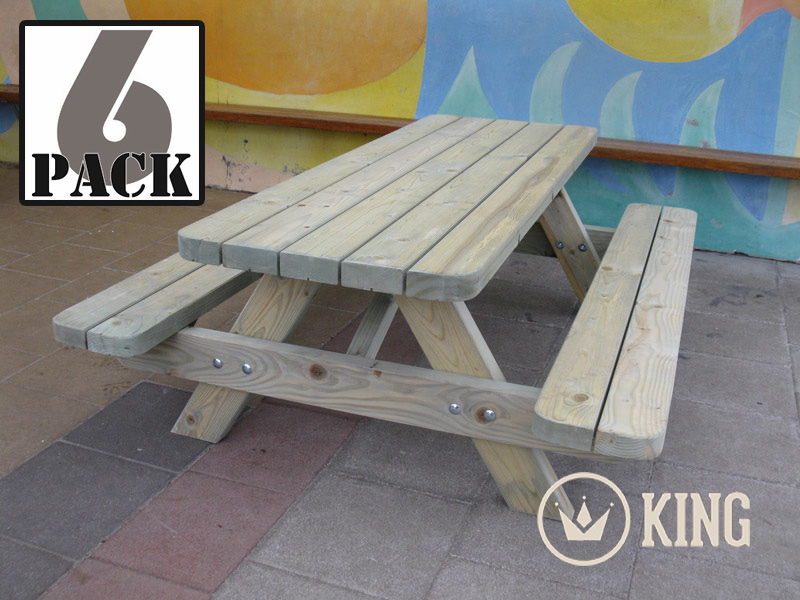 <BIG><B>KING &#174; KINDERPICKNICKTAFEL 140 cm (6-PACK)</B></BIG>