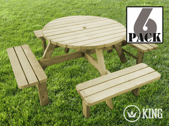 <BIG><B>KING ® PICKNICKTAFEL ROND 120 cm / 4 cm dikte (6-PACK)</B></BIG>