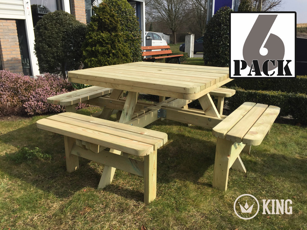 <BIG><B>KING XXL &#174 Table de pique-nique carr&eacute;e; Table de pique-nique KING XXL / 4cm d\'&eacute;paisseur (6 PAQUETS)</B></BIG>