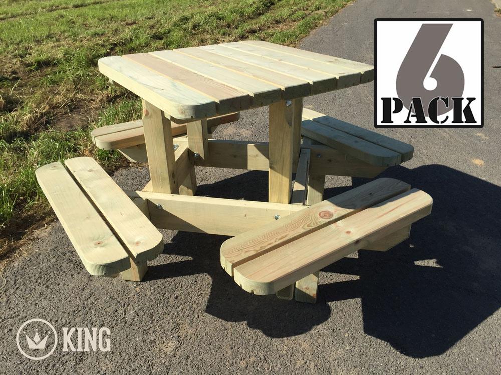 <BIG><B>KING &#174; Table de pique-nique carr&eacute;e pour marmots (6 TABLES)</B></BIG>