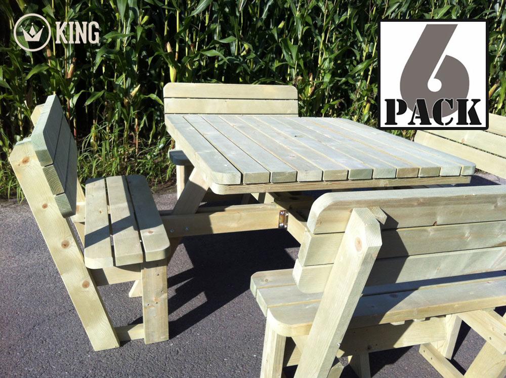 <BIG><B>carrée KING ® Table de pique-nique XXL / 4cm d'épaisseur / avec 4 dossiers (6 TABLES)</B></BIG>