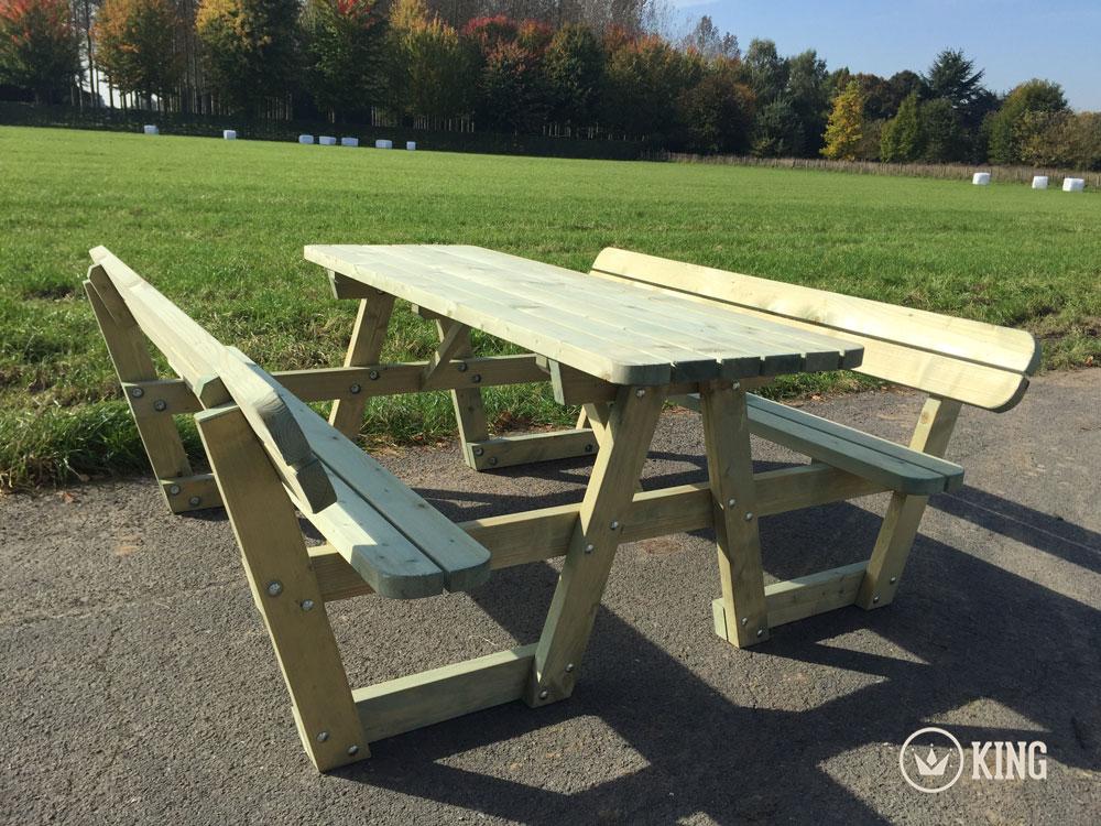 1.80m KING ® Picknicktisch mit Rückenlehnen