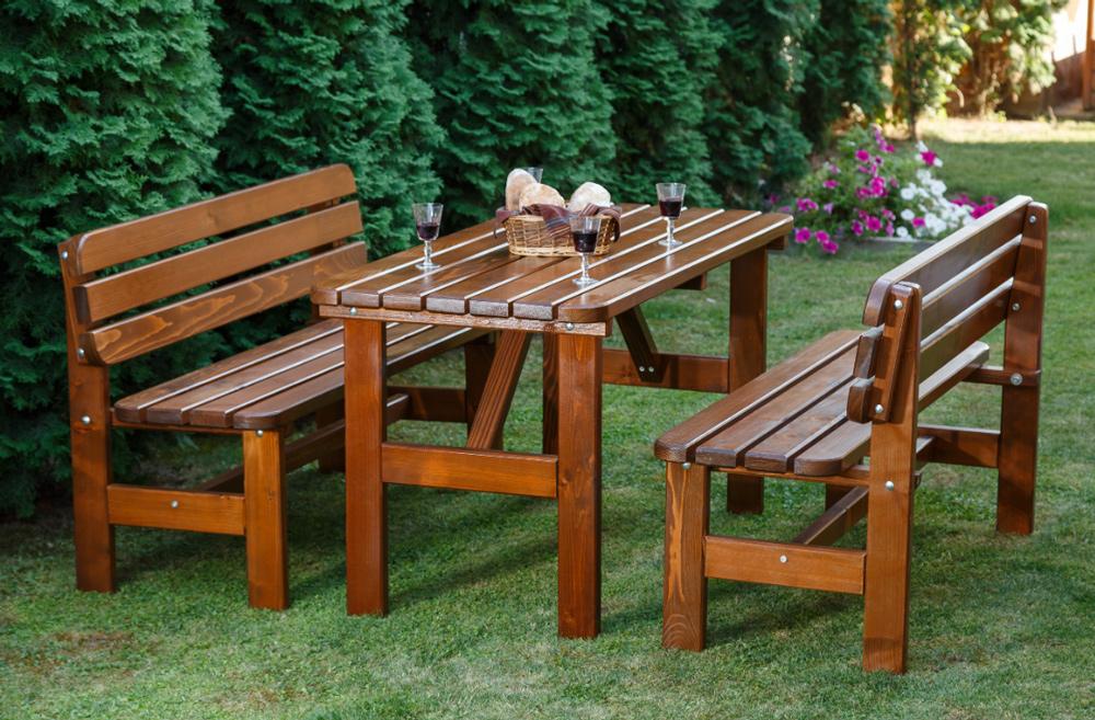 LUX houten donker bruine tafelset 150 cm