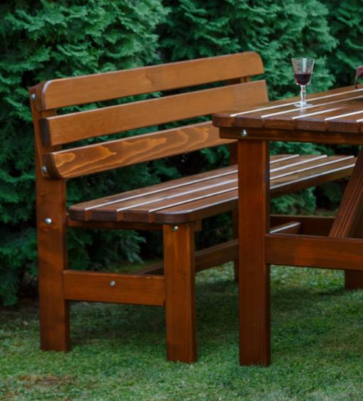 <BIG><B>LUX houten donker bruine bank 150 cm</B></BIG>