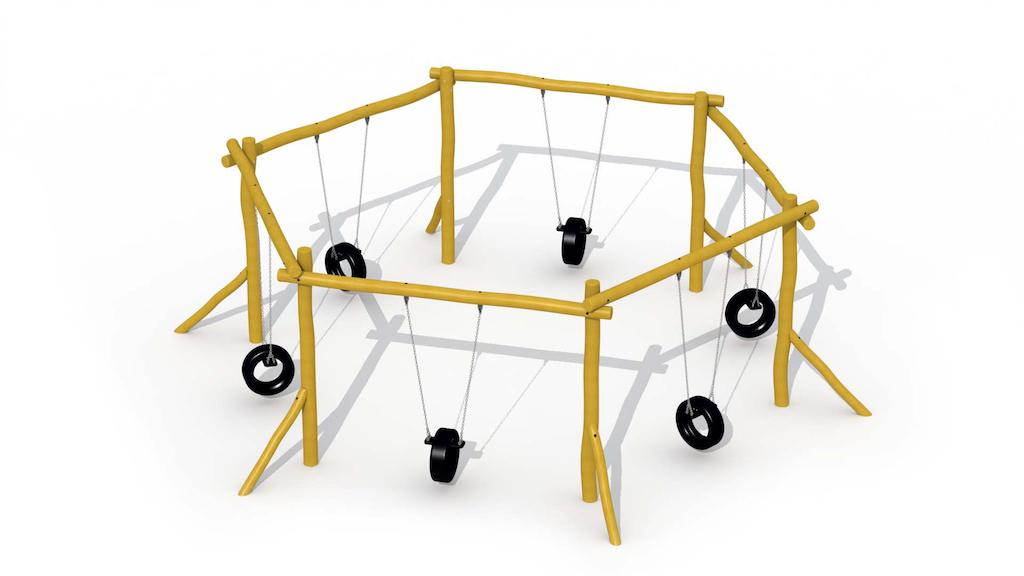 Balançoire hexagonale (avec sièges de pneus)