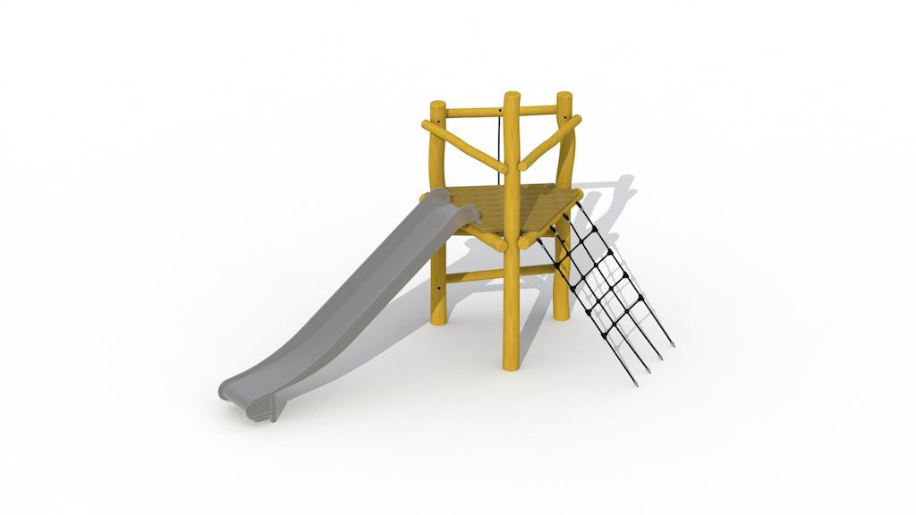 Speeltoren zonder dak (met inox glijbaan)