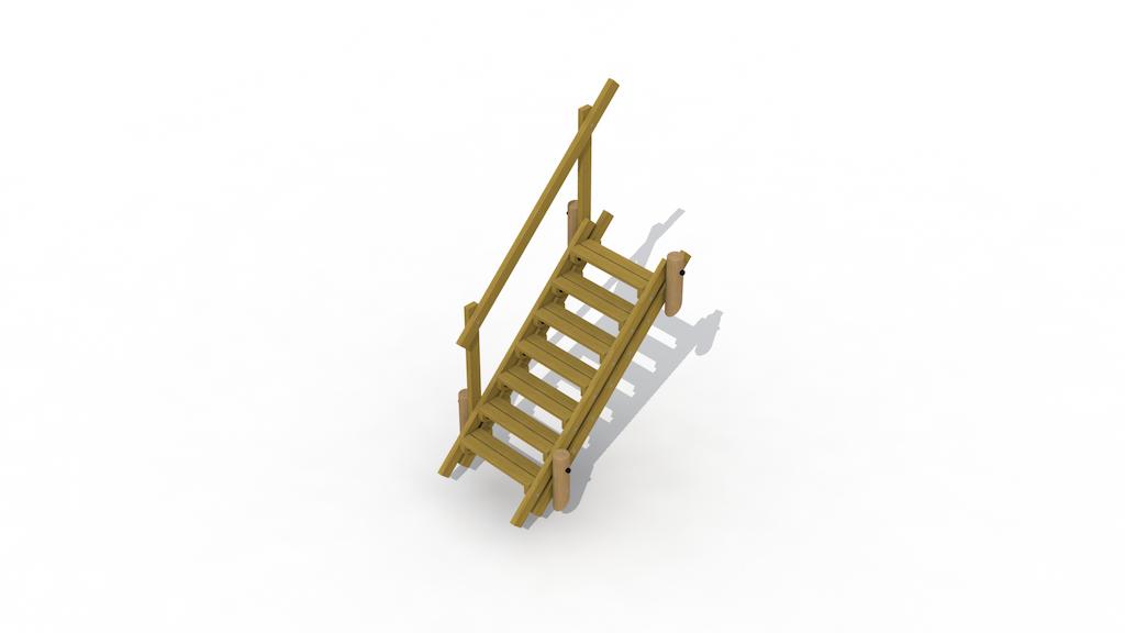 Escalier de terrain 2,1 m avec main courante