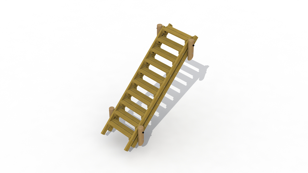 Escalier de terrain 2,7 m sans main courante