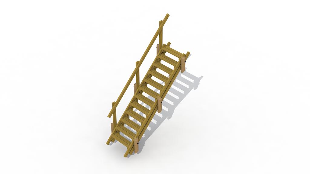 Escalier de terrain 3,3 m avec main courante