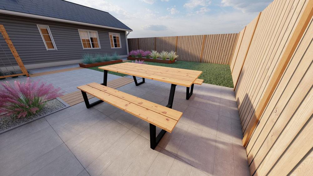 Table de pique-nique en acier avec plateau douglas 250cm. Modèle A.