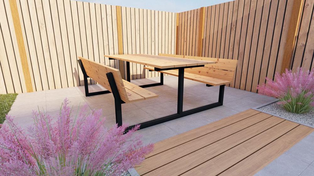 Table de pique-nique en acier avec plateau en douglas 160cm. Modèle F.