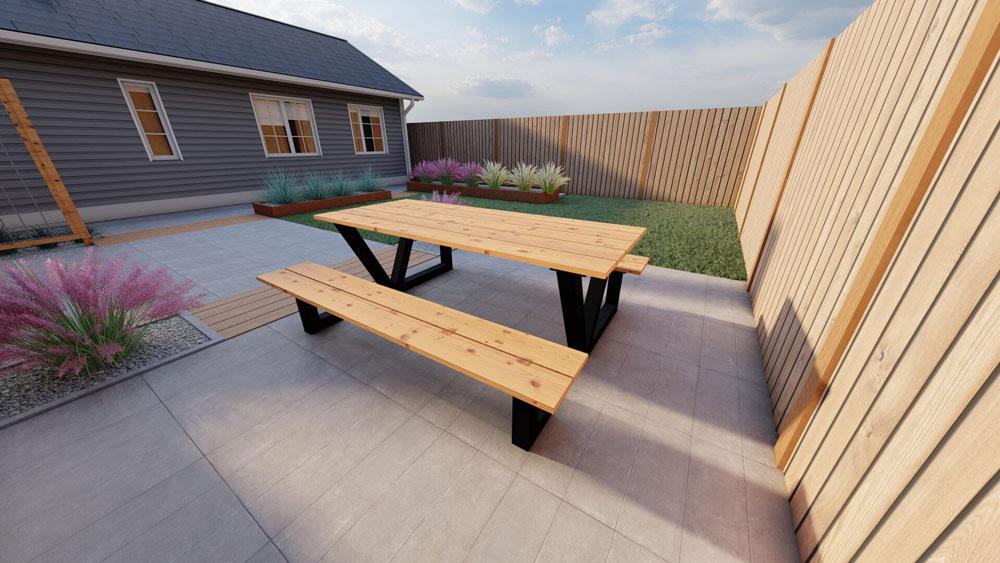 Stalen picknicktafel met douglas tafelblad 160cm. Model V.