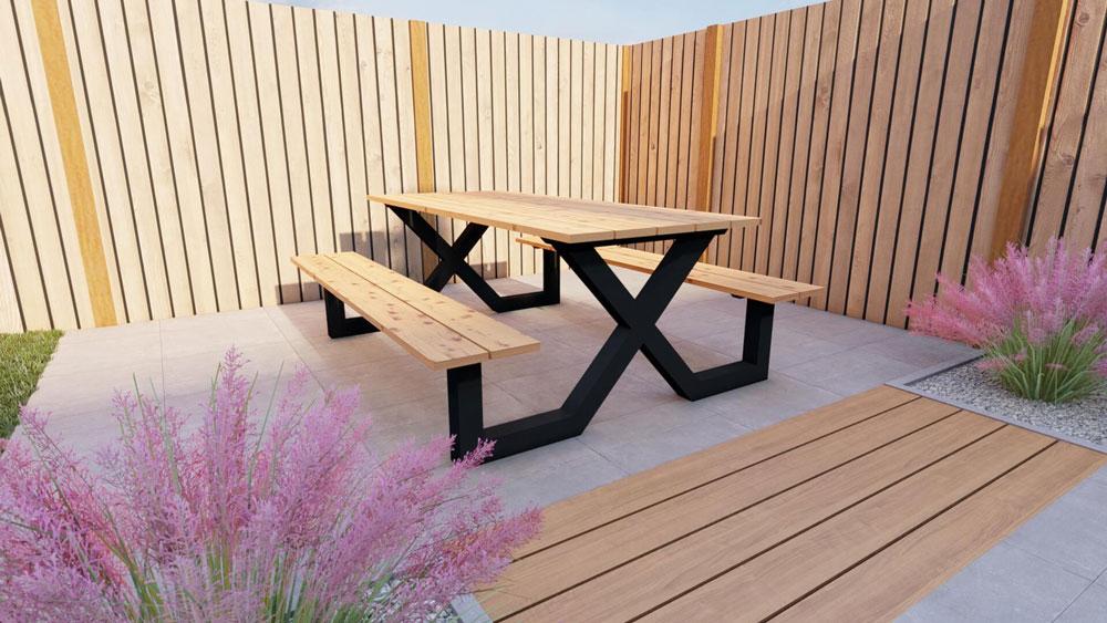 Table de pique-nique en acier avec plateau en douglas 180cm. Modèle X.