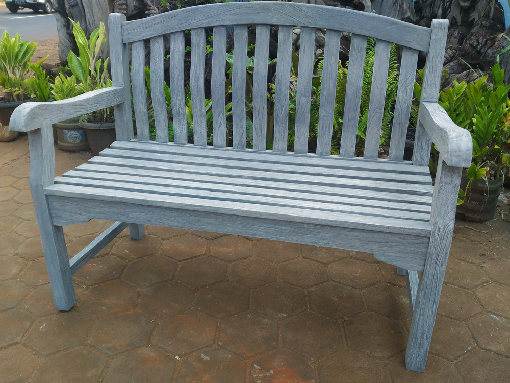 <BIG><B>Jepara teak bank 120cm grey finished</B></BIG>
