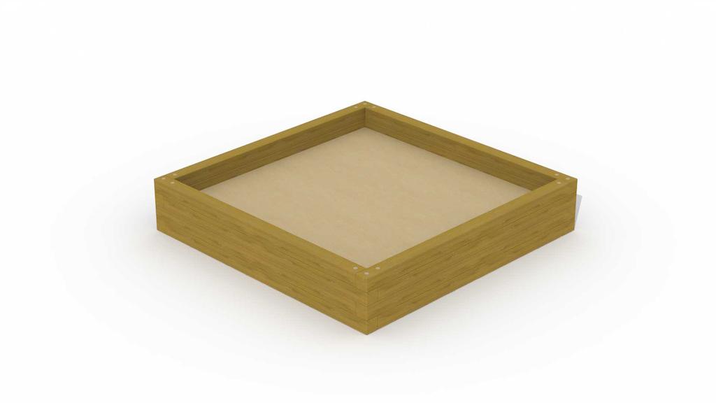 """Zandbak in balken \""""klein vierkant 1,8 x 1,8 m\"""""""