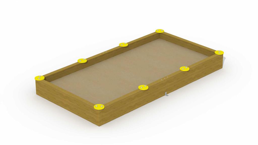 """Zandbak in balken met 8 zittingen\""""rechthoekig 1,8 x 3,6 m\"""""""