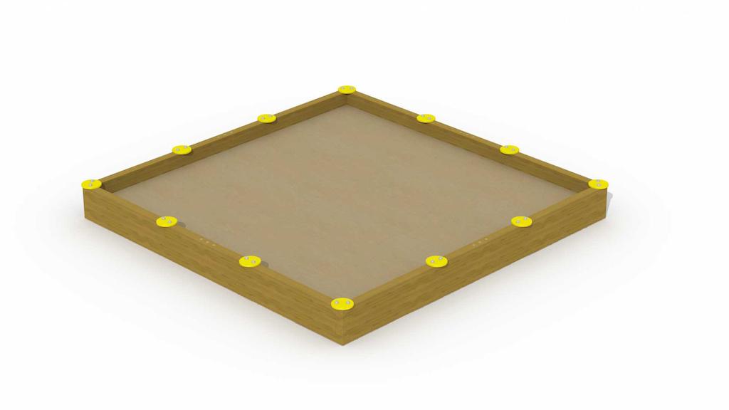 """Bac à sable en poutres avec 12 sièges """"grand carré 3,6 x 3,6 m"""""""