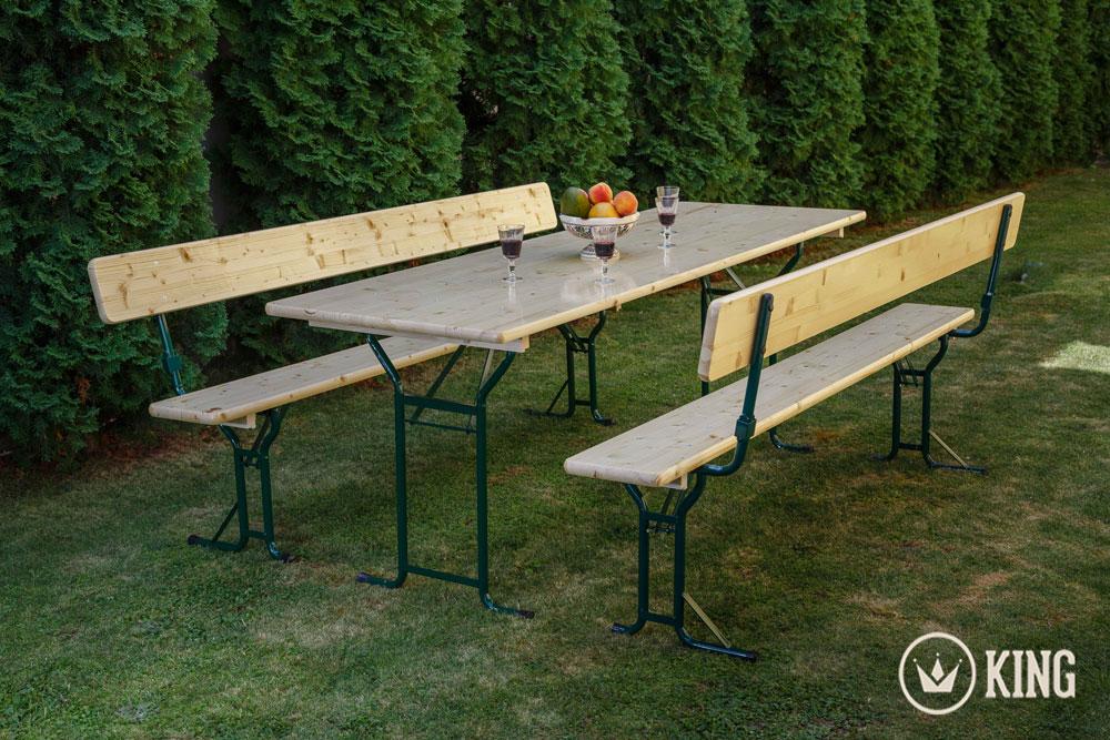 <BIG><B>Set de table de brasserie 220 cm par 70 cm avec 2 bancs avec dossiers</B></BIG>