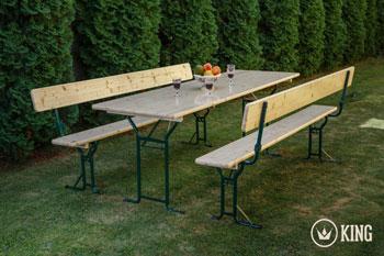 <BIG><B>Biertafelset 220 cm op 70 cm met 2 zitbanken met rugleuningen</B></BIG>
