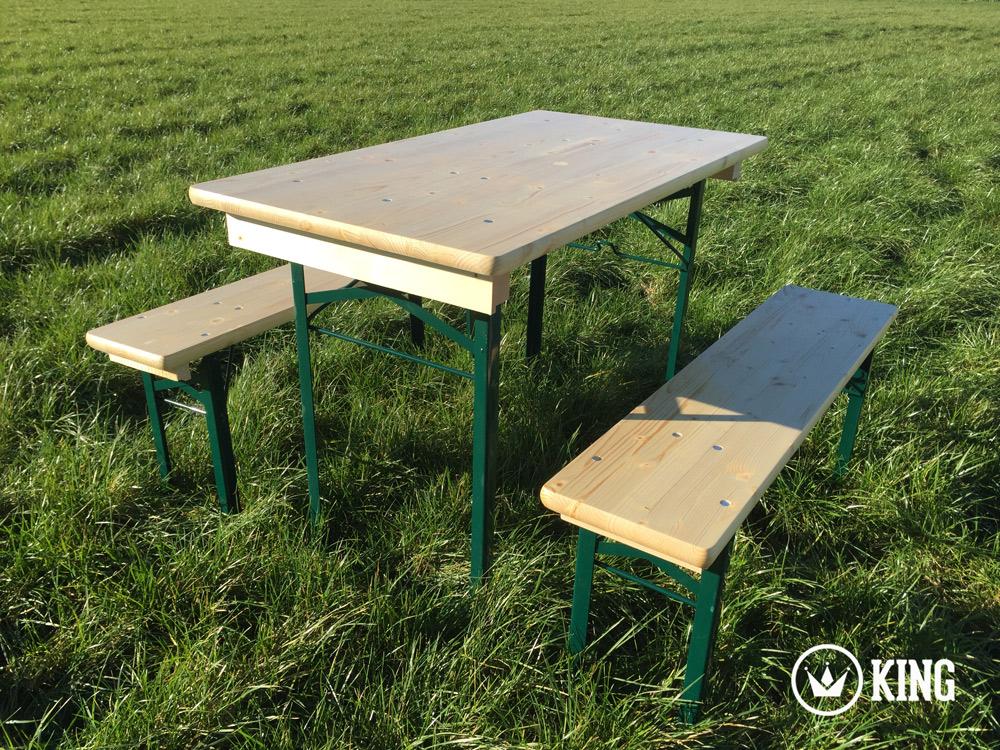 <BIG><B>KING &#174; Set brasserie table 110cm x 60cm et deux bancs (armature vert fonc&eacute;)</B></BIG>