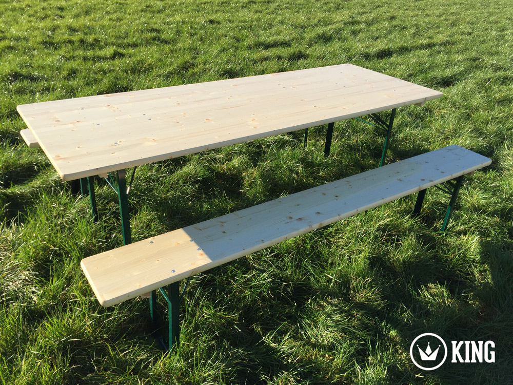 <BIG><B>KING &#174; Set brasserie table 220cm x 80cm et deux bancs</B></BIG>