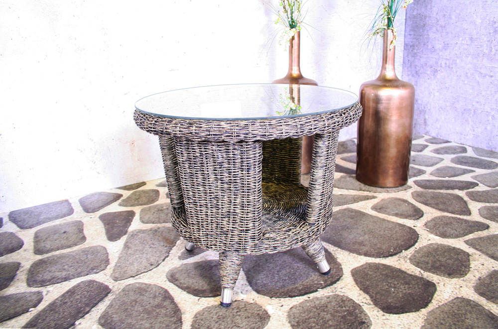 <BIG><B>Wicker tafel Bonaire met glasplaat</B></BIG>