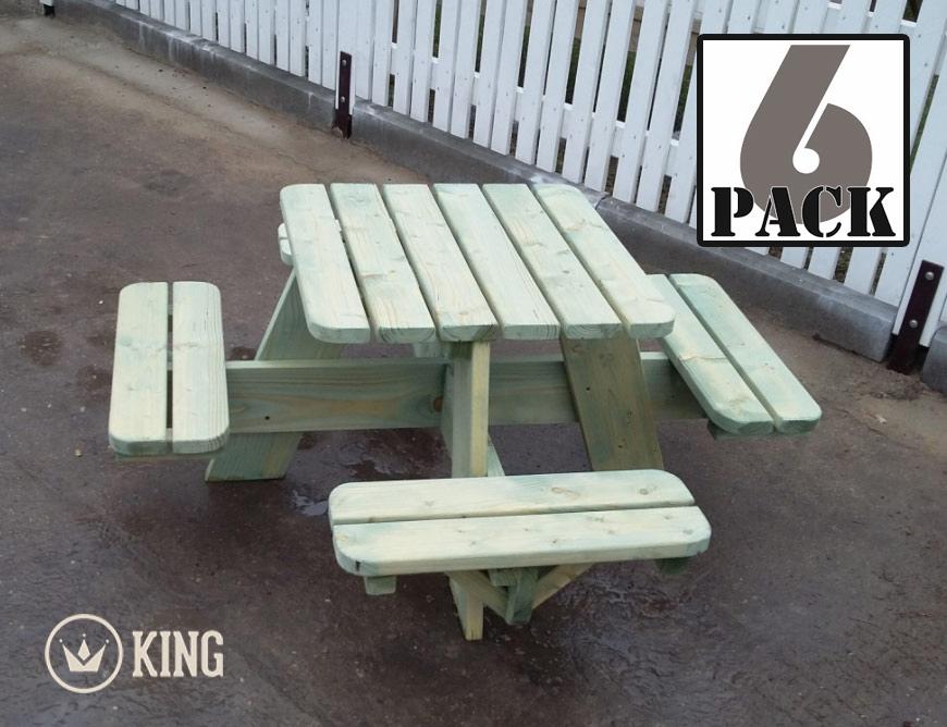 <BIG><B>KING &#174; Vierkante Picknicktafel voor Kleuters (ECO) (6-PACK)</B></BIG>
