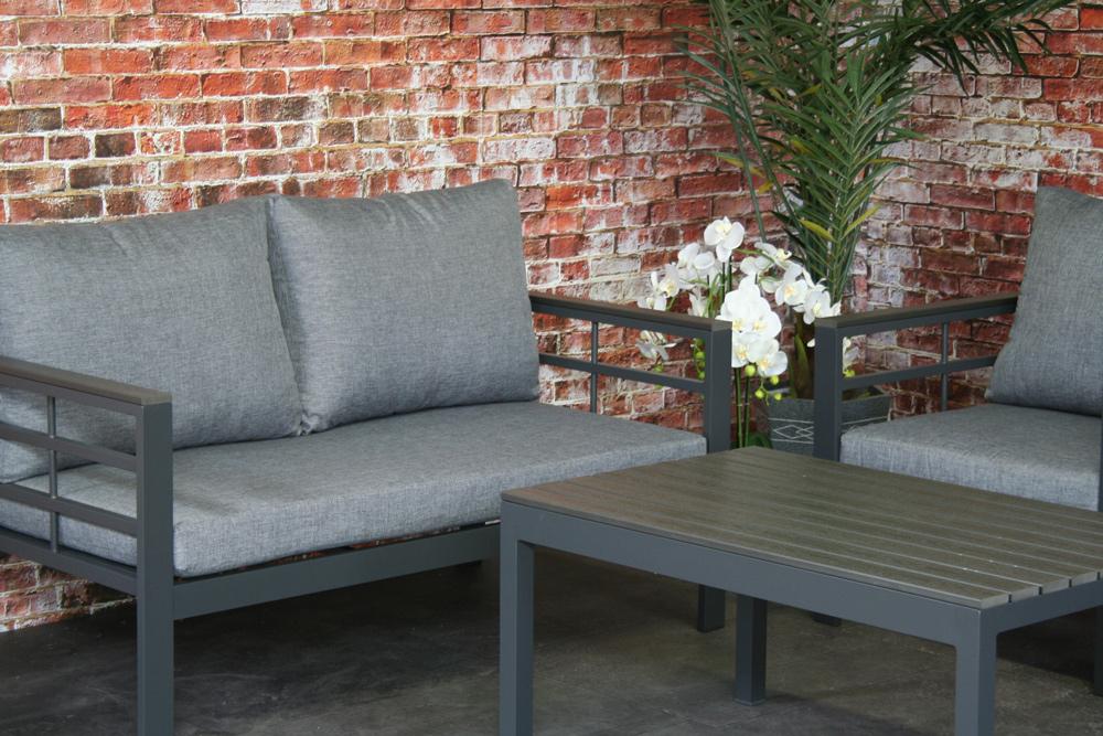 <BIG><B>Forza Ensemble de salon en aluminium polywood anthracite</B></BIG>