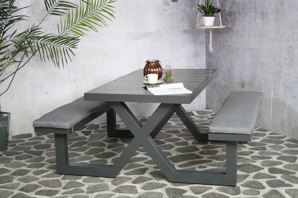 <BIG><B>Merope antraciete picknicktafel (aluminium)</B></BIG>