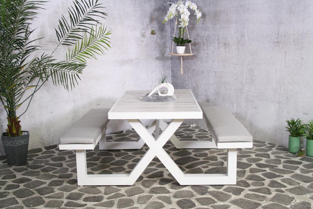 <BIG><B>Table de pique-nique Merope blanc (aluminium)</B></BIG>