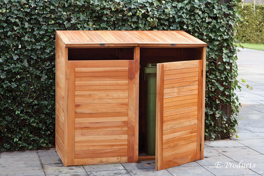 <BIG><B>Cache-poubelle double en bois dur (150 x 75 x 135 cm)</B></BIG>