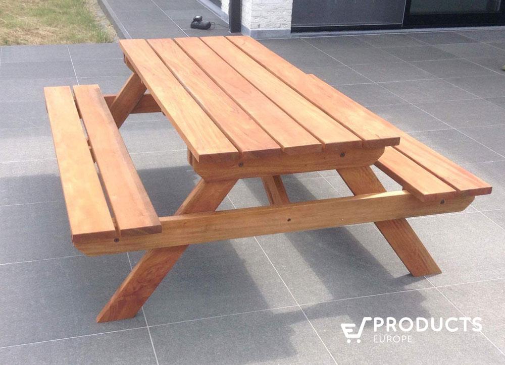 <BIG><B>Hardhouten picknicktafel (200 x 160 x 75 cm) (3.5 cm plankdikte)</B></BIG>