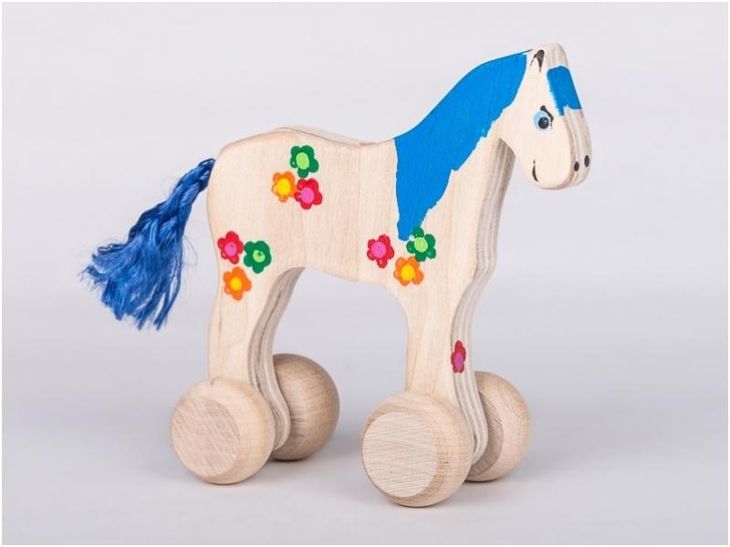 houten paard blauw