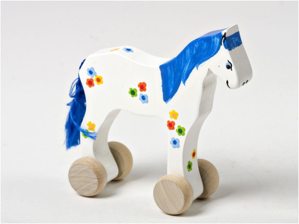 Blauw houten paard