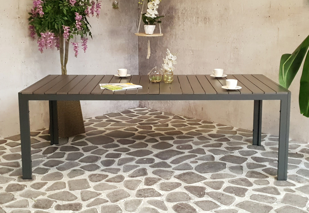 <BIG><B>Table &agrave; manger Dylan 220 x 100 cm anthracite</B></BIG>