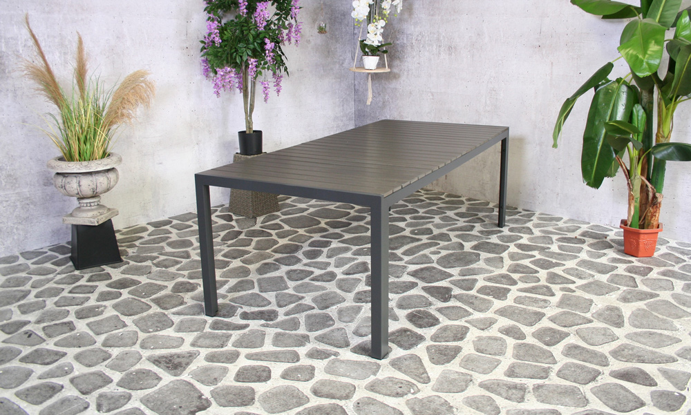 Table à manger Dylan 220 x100 cm anthracite