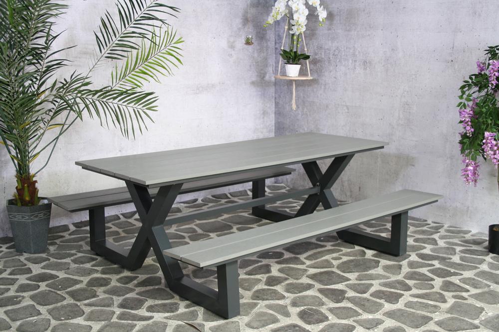 Cujam grauer Picknicktisch (Aluminium / Polyholz)