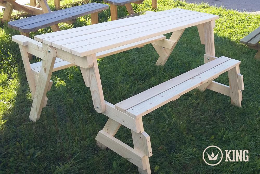 <BIG><B>KING ® Table de pique-nique transformable en banc de jardin / 4cm d'épaisseur</B></BIG>