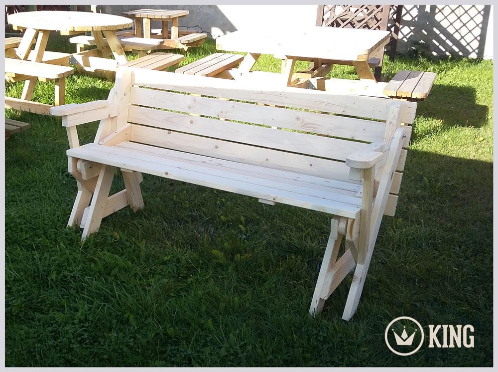 <BIG><B>KING &#174; Table de pique-nique transformable en banc de jardin / 4cm d'&eacute;paisseur</B></BIG>