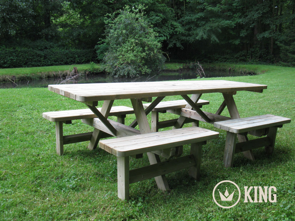 <BIG><B>KING ® Table de pique-nique confort (version extra solide) 2.40m / 4 cm d'épaisseur (6 TABLES)</B></BIG>