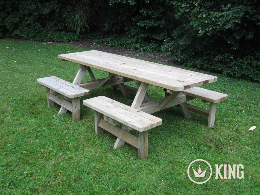 <BIG><B>KING ® Table de pique-nique confort (version extra solide) 2.40m / 4 cm d'épaisseur</B></BIG>