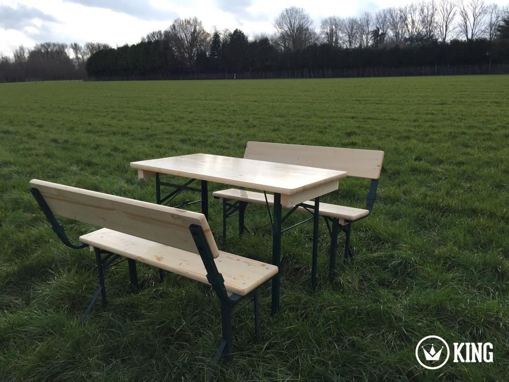 <BIG><B>KING ® Set brasserie table 110cm x 60cm et deux bancs avec dossiers (armature vert foncé)</B></BIG>