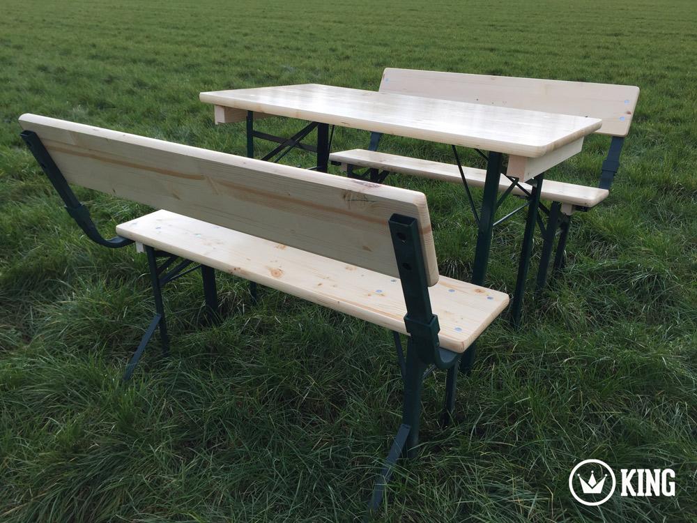 <BIG><B>KING &#174; Set brasserie table 110cm x 60cm et deux bancs avec dossiers (armature vert fonc&eacute;)</B></BIG>