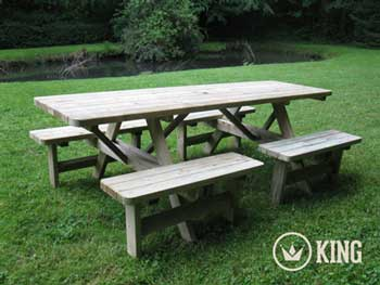 <BIG><B>KING &#174; Table de pique-nique confort (version extra solide) 2.40m / 4 cm d\'&eacute;paisseur</B></BIG>