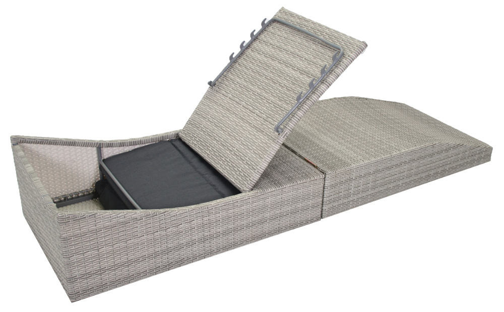 <BIG><B>Chaise pliante inclinable Lorenzo gris</B></BIG>