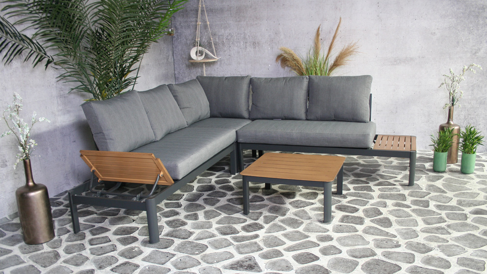 <BIG><B>Lotus Alu. Loungeset antraciet</B></BIG>