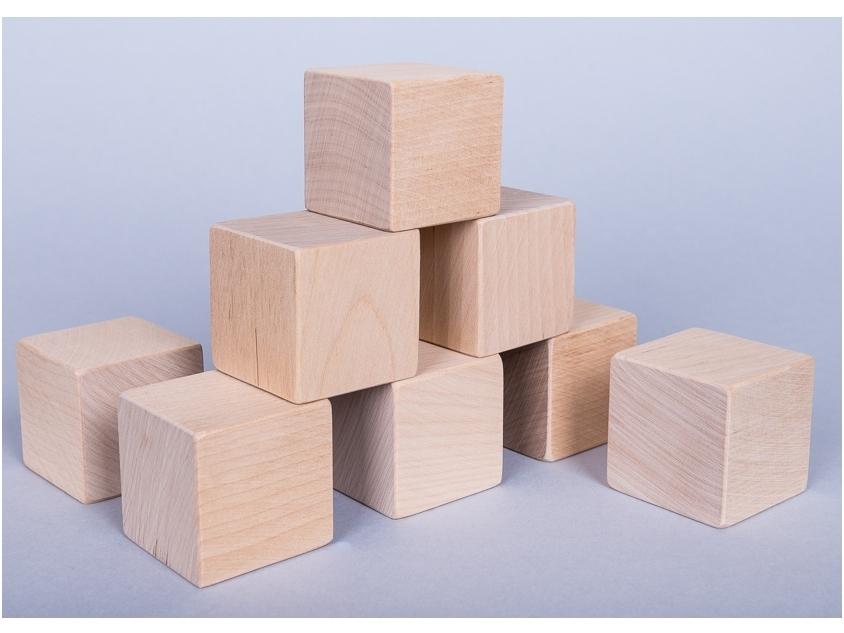Ongekleurde bouwblokken