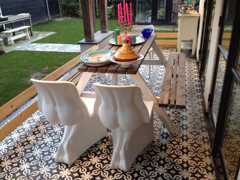 Picknicktisch zwei Farben - 180 cm x 4 cm