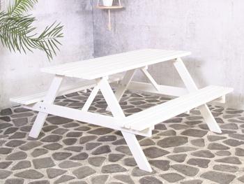 <BIG><B>Remia witte picknicktafel 150cm</B></BIG>
